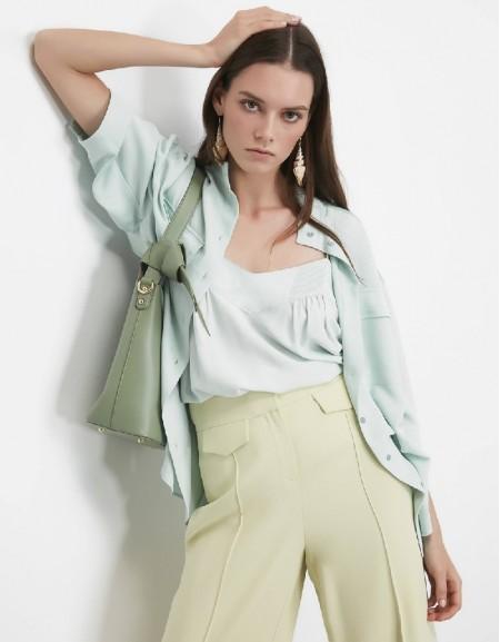 Sea Green Pocket detailed shirt