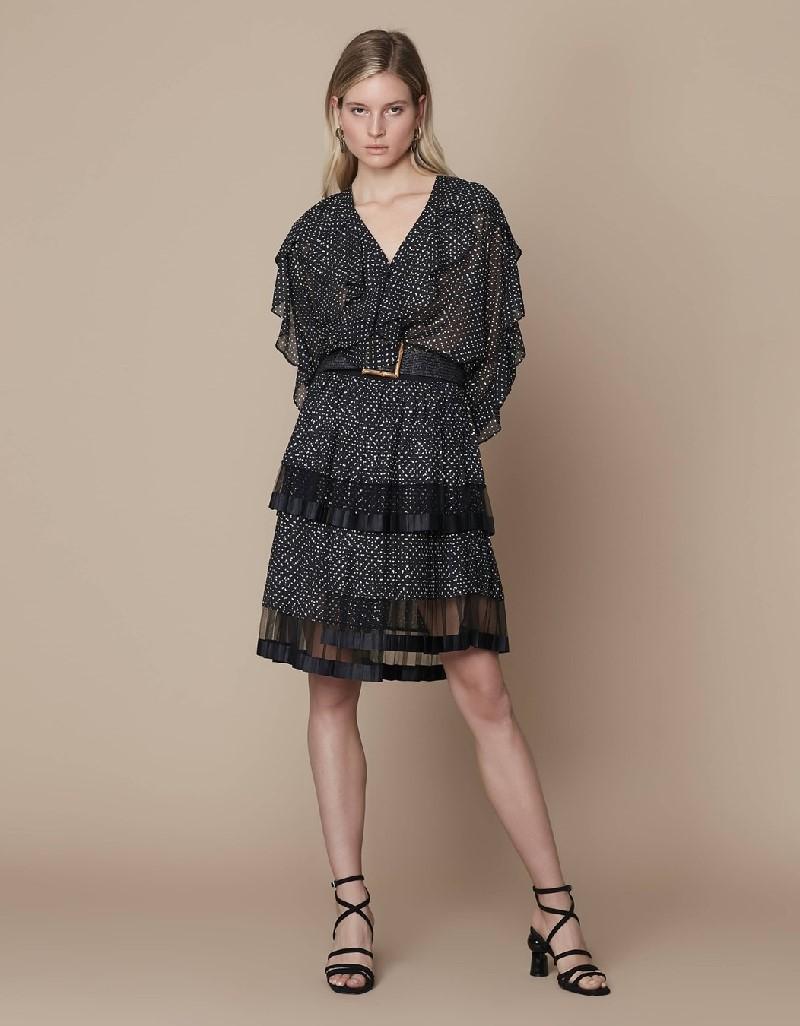 Black Blouse with ruffle stripe