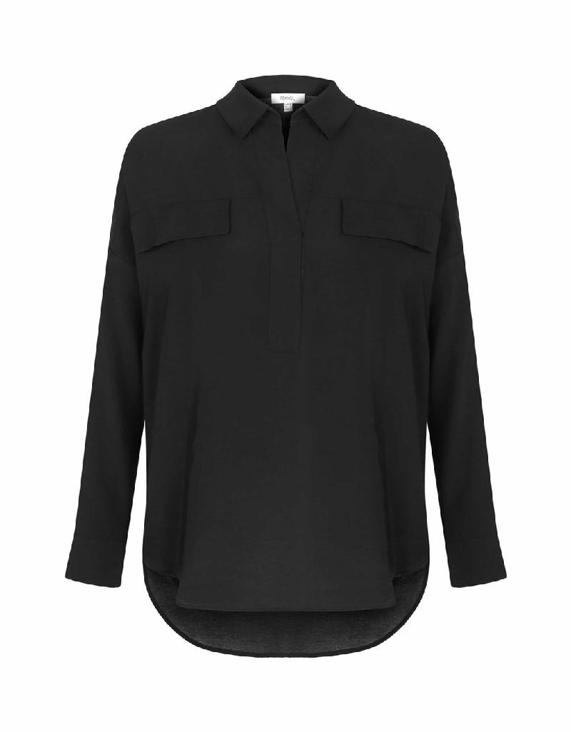 Black Pocket detailed blouse