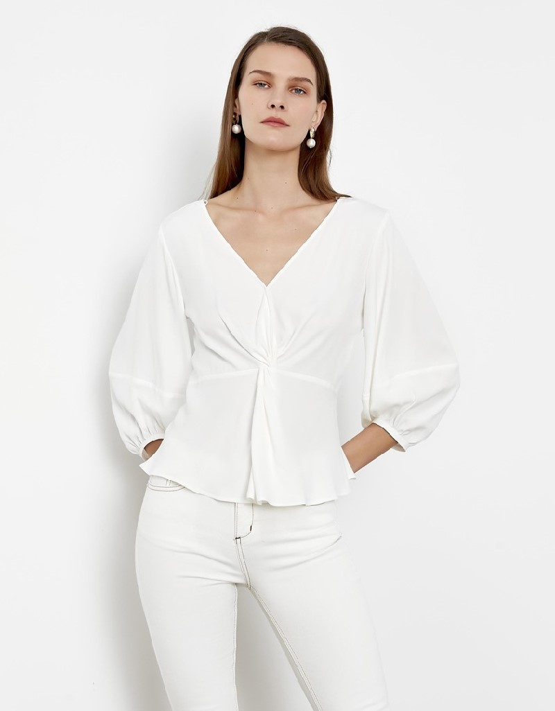 White Waist Fitting Blouse