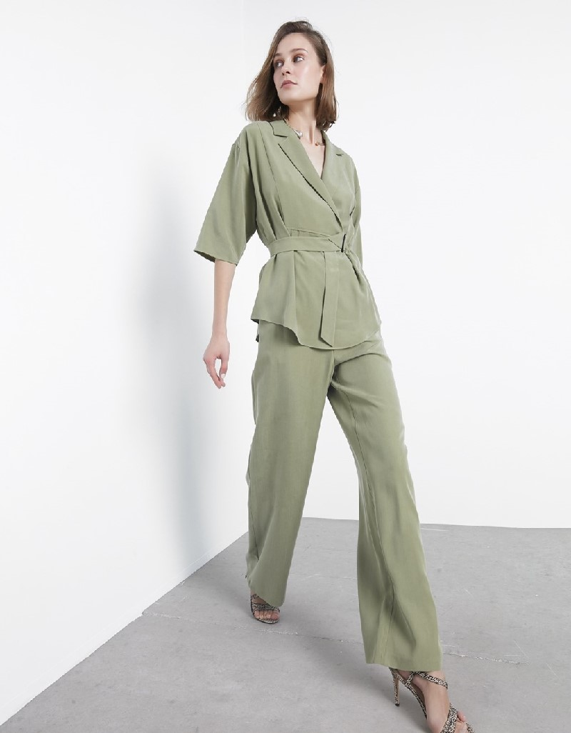 Reseda Green Wrap-Over Form Belted Blouse