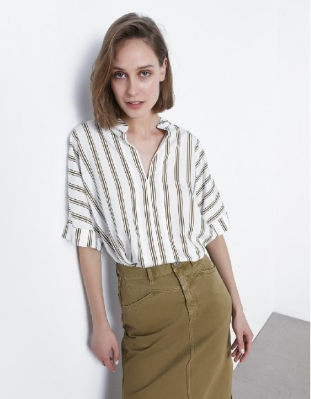 Off White Striped Blouse