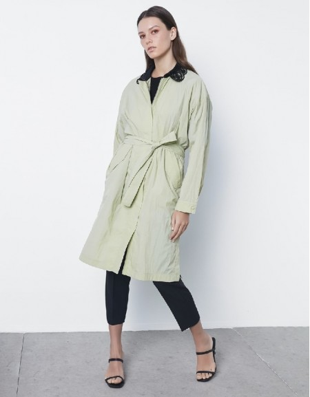 Sea Green White embroidery trenchcoat