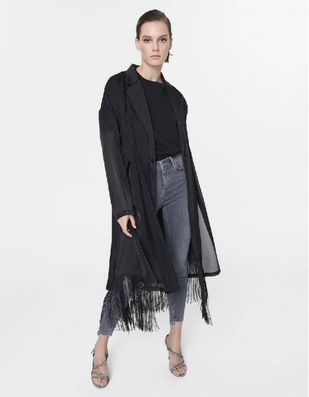Black Topcoat with rope tassel