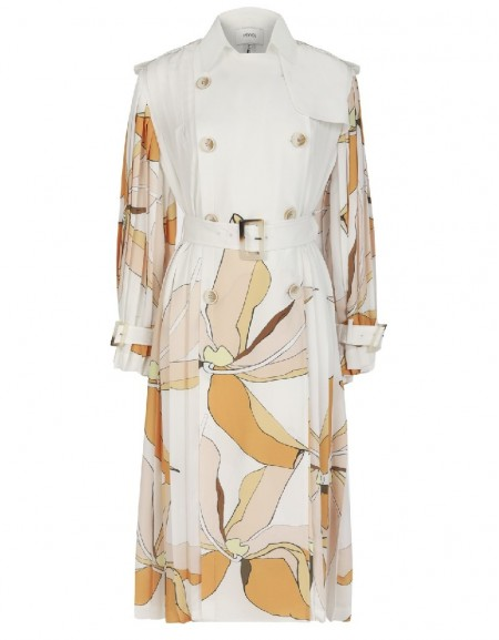 Ecru Floral pleated trench coat