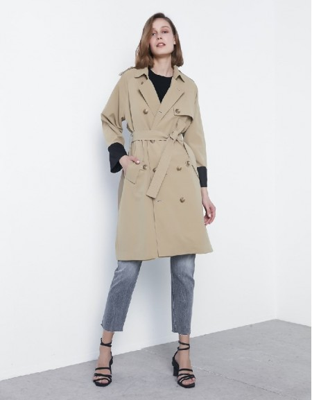 Natural Fabric mix trenchcoat