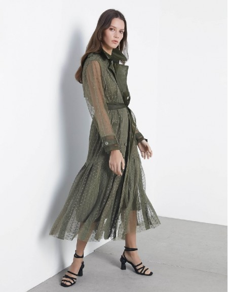 Khaki Fabric mix trenchcoat