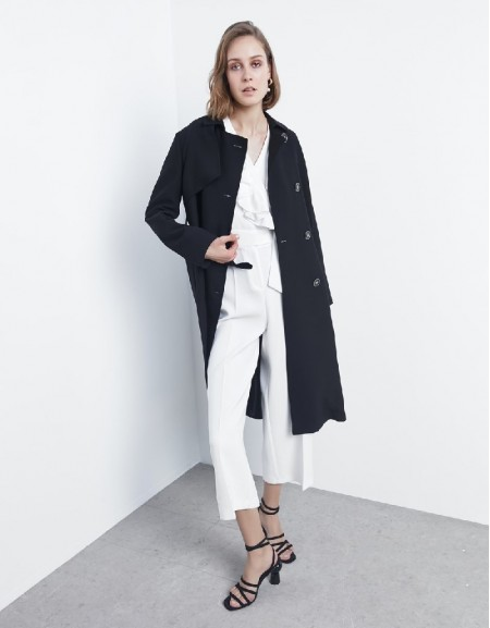 Black Fabric mix trenchcoat