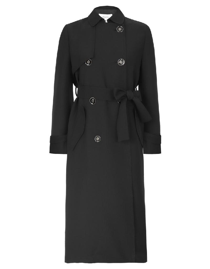 Black Fabric mix trenchcoat