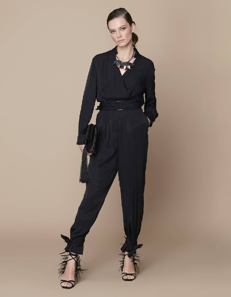 Black Lace-up cuff wrap-over form jumpsuit