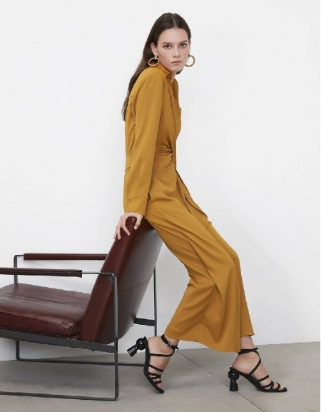 Saffron Wrap-over form belted jumpsuit