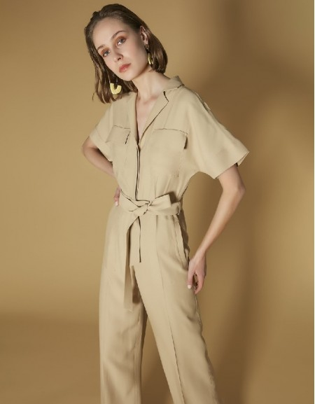Natural Shirt Collar Belted Jumpsuit