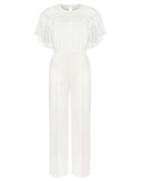White Tulle top jumpsuit
