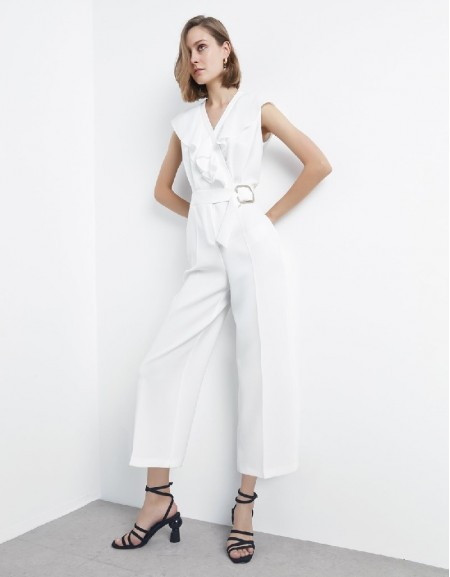 Ecru Ruffle striped belted jumpsuit