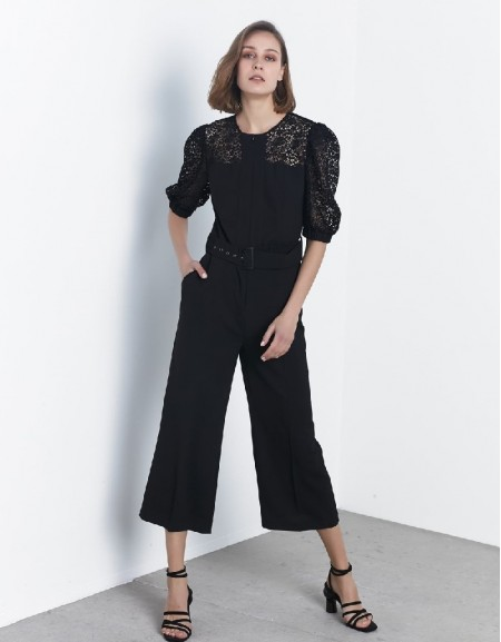 Black Guipure mix jumpsuit