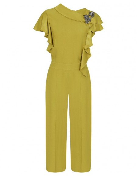 Green Ruffle shoulder jumpsuit