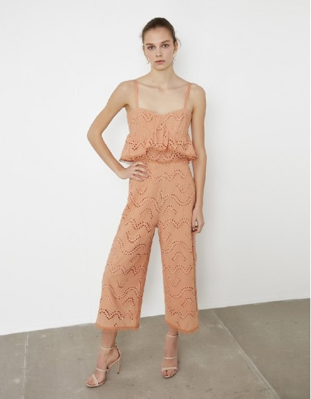 Salmon White embroidery jumpsuit