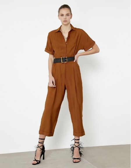 Tobacco Elastic Waisted Jumpsuit