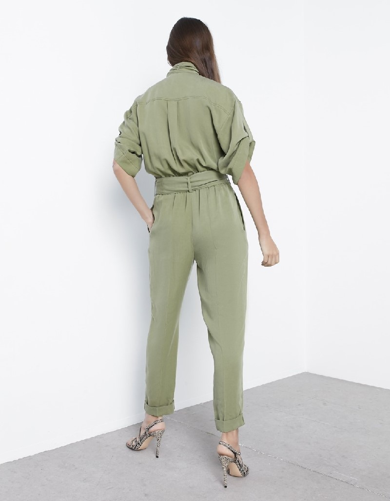 Reseda Green Button Accessory Jumpsuit