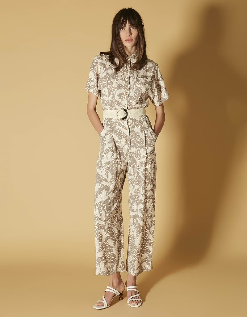 Natural Patterned elastic waist pants