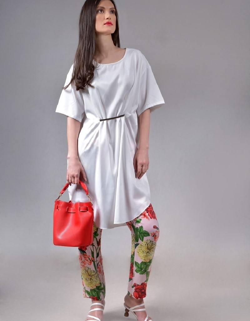 White Flowy metal front tunic