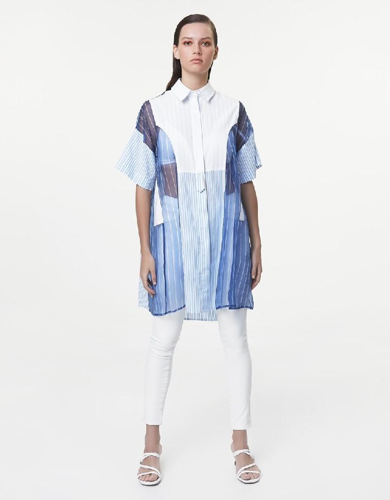 White Fabric mix tunic