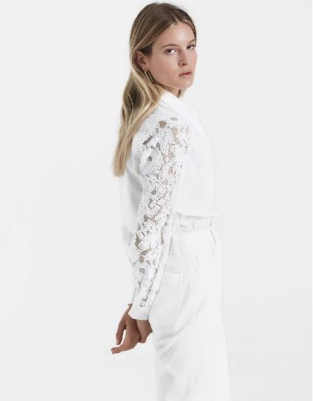 White Guipure-mix shirt