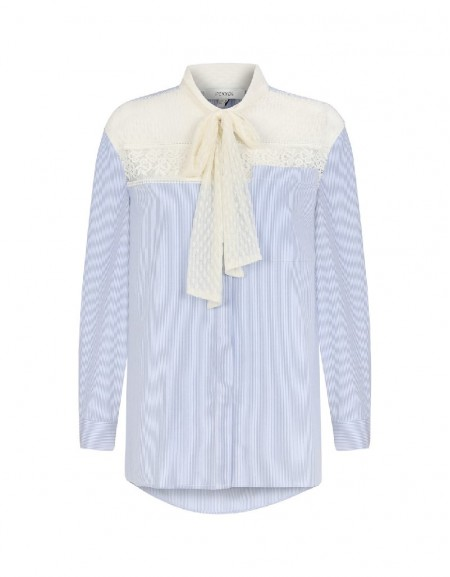 Blue Bow upper-lace striped shirt