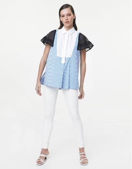 Blue Fabric mix shirt