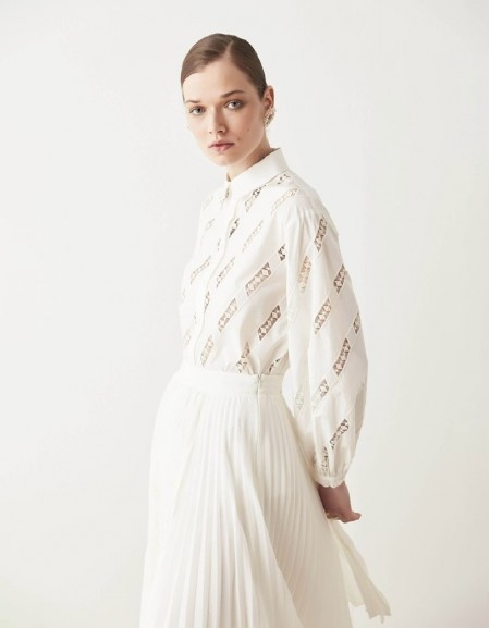 White Shirt With Lace Trims