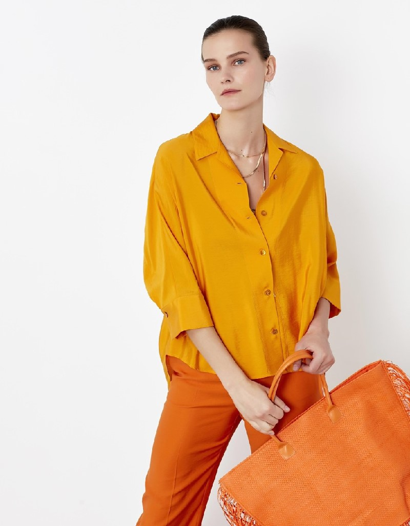 Yellow Oversize belted shirt