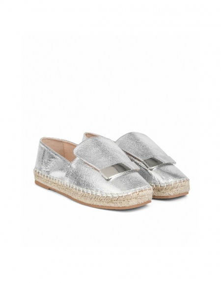 Silver Metal buckle flat shoes