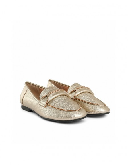 Bronze Buckle detailed flat shoes