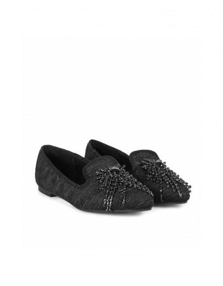 Black Stone buckle flat shoes