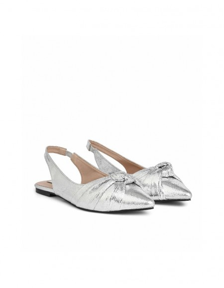 Silver Lacquer printed sandals