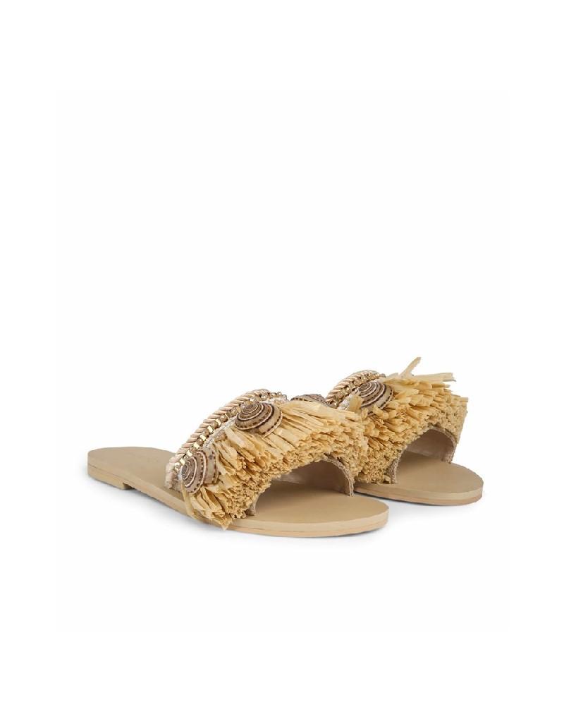 Beige Straw tassel slippers