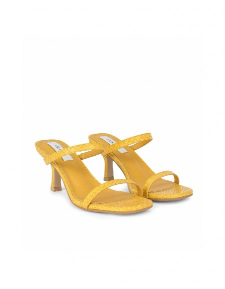 Yellow Thin straps heeled sandals