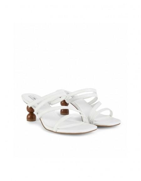 White Thin straps heeled sandals