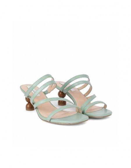 Green Thin straps heeled sandals