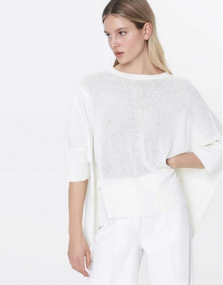 Off White Fabric mix oversize tricot