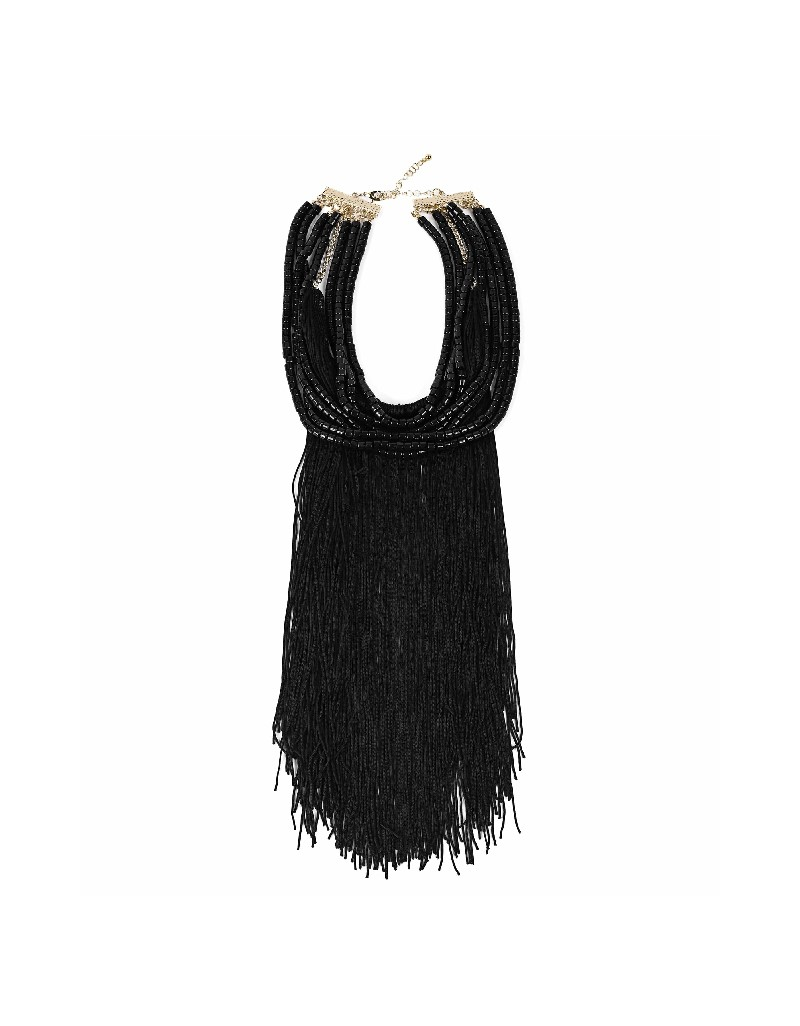 Black Rope tassel bead lined necklace