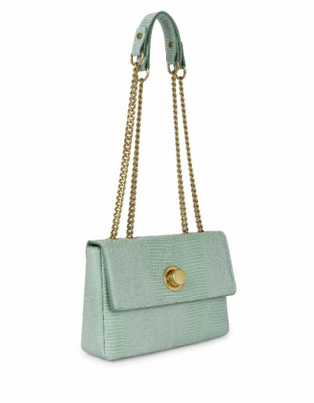 Green Chain strap crocodile bag