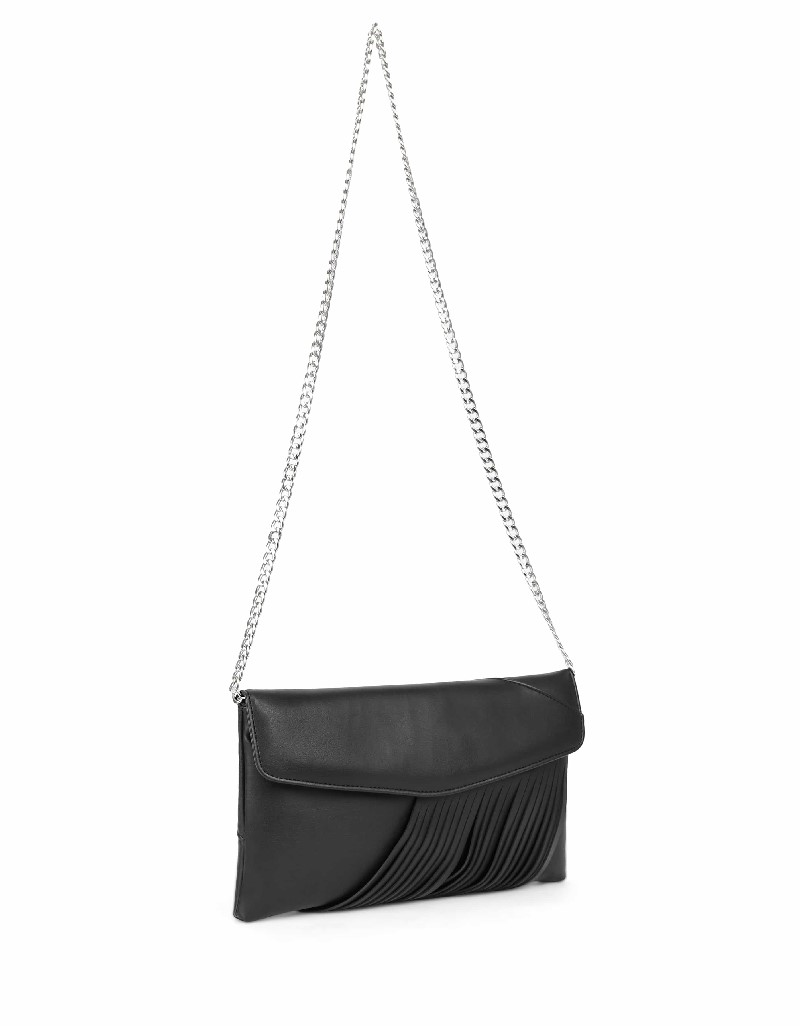Black Leather detail clutch