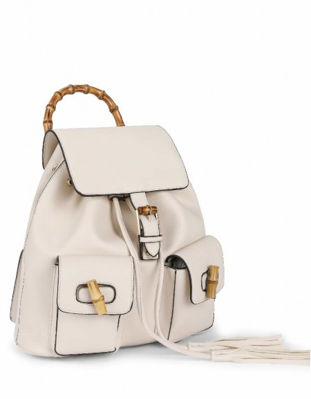 White Bamboo detailed backpack
