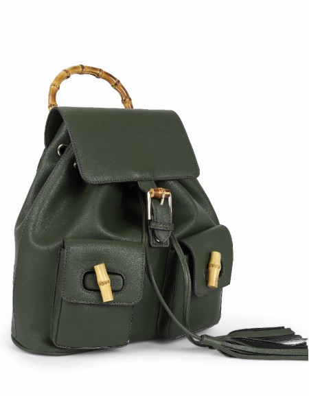 Green Bamboo detailed backpack