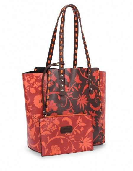 Red Flower printed shoulder bag