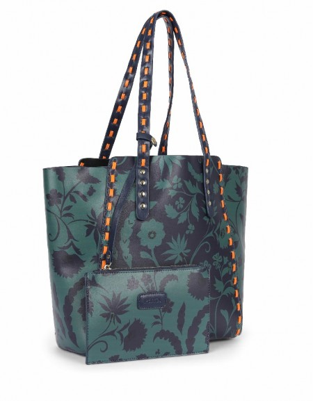 Green Flower printed shoulder bag
