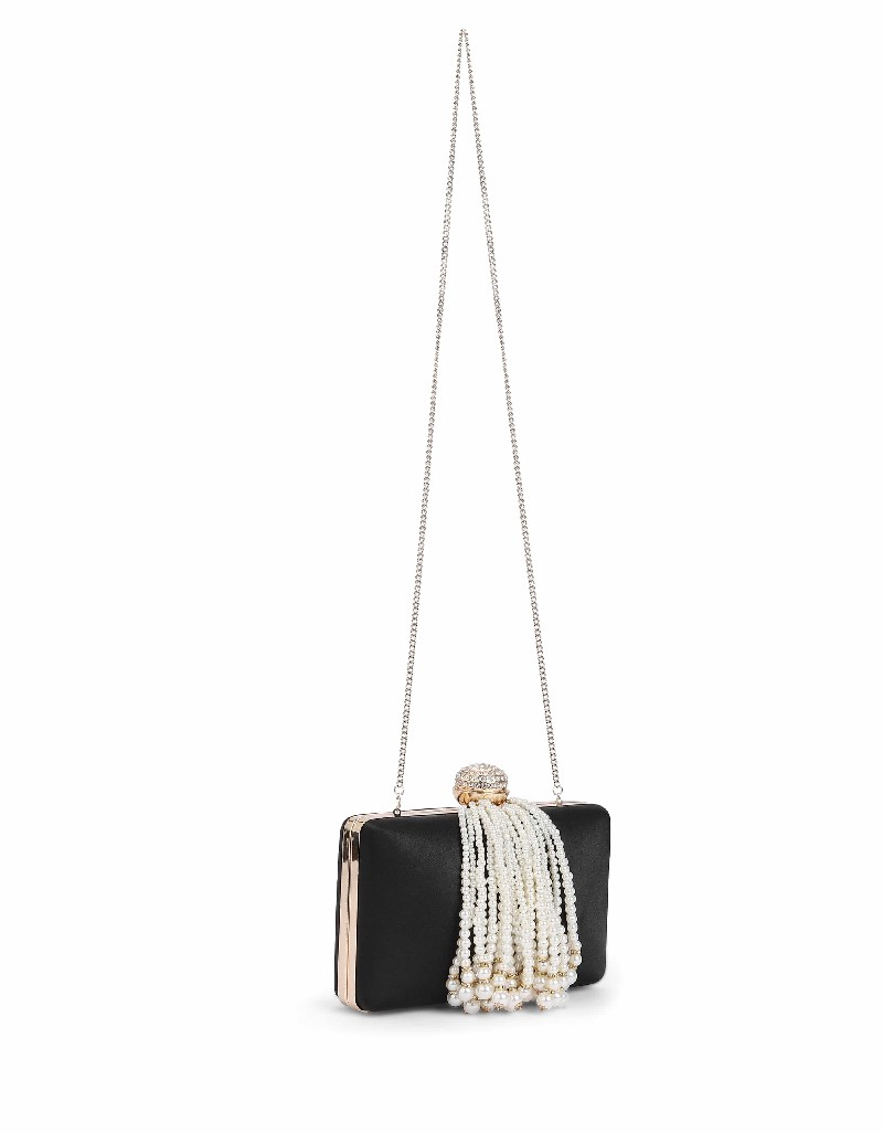 Black Pearl tassel clutch