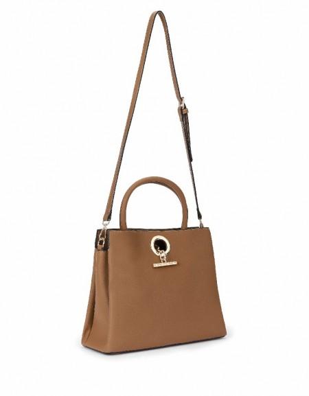Brown Closure detailed bag