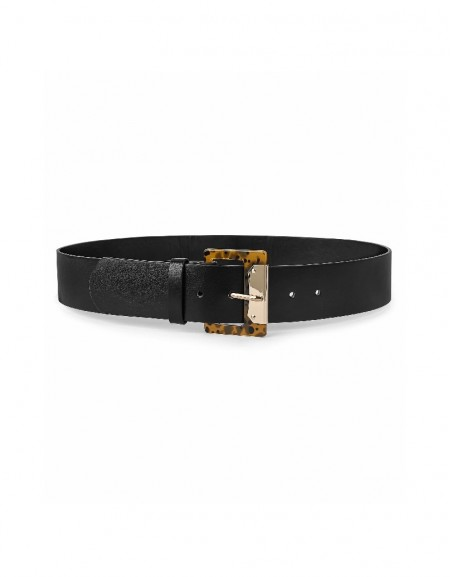 Black Imbricated buckle belt